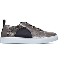 Mcq By Alexander Mcqueen Chris Metallic Leather Trainers Silver Com