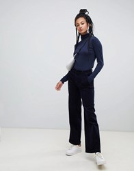 Esprit Wide Leg Cord Trousers In Navy