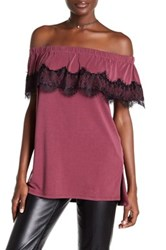 Ella Moss Isabella Lace Trim Off The Shoulder Shirt Red