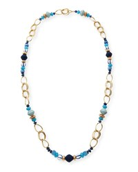Akola Long Mixed Bead And Chain Station Necklace Blue