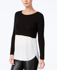 Bar Iii High Low Colorblocked Top Only At Macy's Deep Black