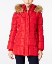 Tommy Hilfiger Faux Fur Trim Hooded Quilted Puffer Coat Only At Macy's Red