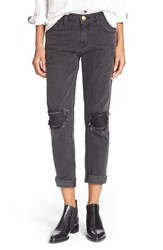 Women's Current Elliott 'The Fling' Leather Patch Boyfriend Jeans Pearson