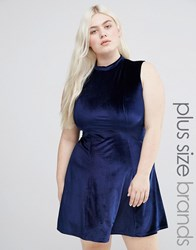 Club L Plus Velvet Skater Dress With High Neck Navy