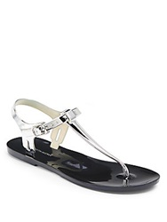 Saks Fifth Avenue Bree Metallic Jelly Sandals Silver