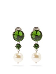 Miu Miu Faux Pearl And Crystal Clip On Earrings Green