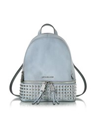 Michael Kors Rhea Zip Dusty Blue Leather Medium Backpack W Pyramid Studs Light Blue