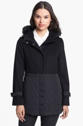 Kristen Blake Wool Blend And Quilted Coat Black