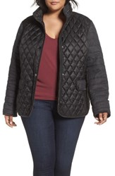 Gallery Plus Size Women's Mixed Media Quilted Jacket Grey