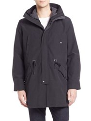 Cole Haan Military Oxford Hooded Parka Dark Blue