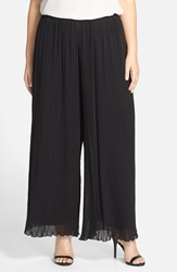 Alex Evenings Pleated Wide Leg Pants Plus Size Black