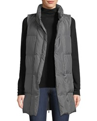 Lafayette 148 New York Quilted Puffer Down Vest W Back Zip Gray