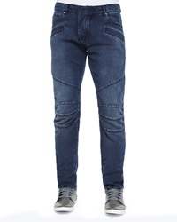 Balmain Five Pocket Moto Denim Jeans Blue