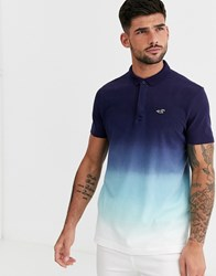 Hollister Modern Collar Icon Logo Pique Polo In Navy Ombre