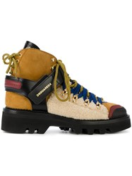 Dsquared2 Colour Block Hiking Boots Brown