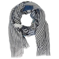 Betty And Co. Floral Stripe Print Scarf White Dark Blue