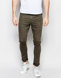 Asos Super Skinny Jeans In Dark Khaki Green