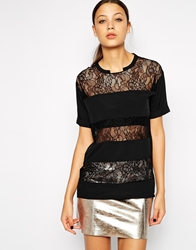 Y.A.S Striped Lace T Shirt Black