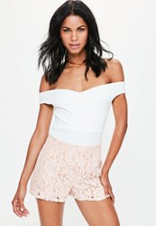 Missguided Premium Pink High Waisted Lace Shorts