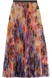 Christopher Kane Pleated Printed Lace Midi Skirt Lilac