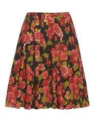 Emilia Wickstead Polly Floral Print A Line Skirt Black Print