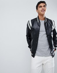 Barney's Originals Real Leather Varsity Jacket With Panelling Black