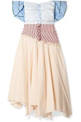 Rosie Assoulin Batten Down The Hatches Off The Shoulder Striped Cotton Blend Poplin Dress Cream