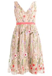 Adrianna Papell Summer Dress Coral Nude Beige
