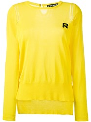 Rochas Logo Embroidered Knitted Sweater Yellow Orange