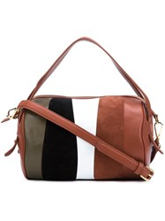 Derek Lam 10 Crosby Striped Gym Bag Brown