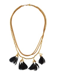 Serefina Dancing Feathers Statement Necklace Black
