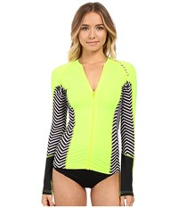 Rip Curl Trestles Long Sleeve Front Zip Heather Sunny Lime Women's Swimwear Gray