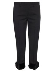 Undercover Fur Cuff Pinstriped Trousers