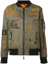 Haculla Embroidered Bomber Jacket Green