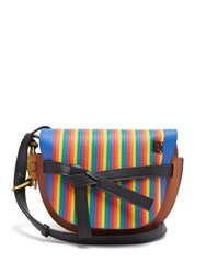 Loewe Gate Marquetry Striped Leather Cross Body Bag Multi