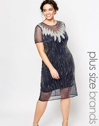 Lovedrobe Embellished Cap Sleeve Dress With Sheer Overlay And Keyhole Back Navy