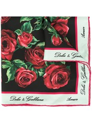 Dolce And Gabbana Rose Print Scarf Black