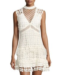 Star Crossed Lovers Sleeveless Crochet Lace Dress Off White