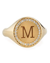 Zoe Chicco Personalized Initial 14K Gold Diamond Halo Signet Ring