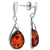Goldmajor Sterling Silver And Amber Tear Drop Earrings Silver Amber