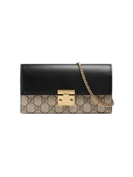 Gucci Padlock Continental Wallet Women Leather Canvas Metal One Size Nude Neutrals