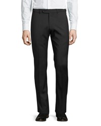 Neiman Marcus Theo Wool Straight Leg Trousers Black