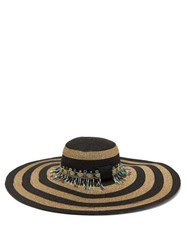 Etro Striped Bead Embellished Straw Hat Gold