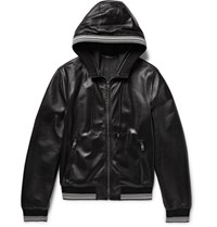 Dolce And Gabbana Stripe Trimmed Leather Hooded Bomber Jacket Black
