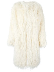 Dkny Faux Fur Coat White