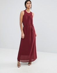 Sisley Maxi Dress With Woven Neck Detail Red