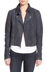 Paige 'Silvie' Suede And Genuine Leather Moto Jacket Black