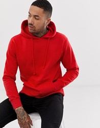 Pull And Bear Hoodie In Red Red