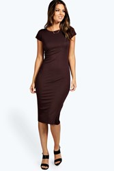 Boohoo Cap Sleeve Jersey Bodycon Midi Dress Chocolate