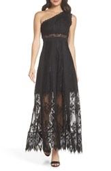 Foxiedox Juliet One Shoulder Lace Gown Black Black